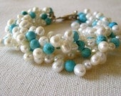 Seafoam. Freshwater Pearl and Turquoise Bracelet
