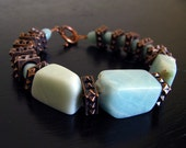 Hard Rock Amazonite and Copper Bracelet