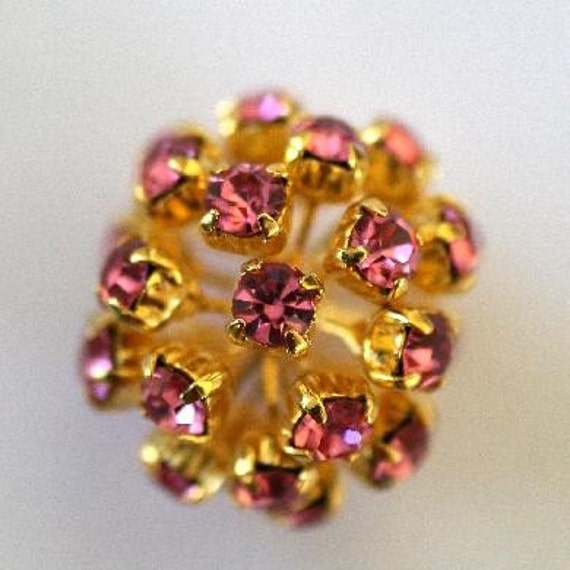SALE CLEARANCE -  Vintage Huge 20mm Swarovski Pink Rose Crystal Rhinestone GP Bead Ball - Last Bead - VB1606 - Unusual Spiky Shape