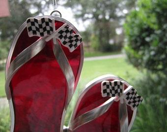 Checkered Flags Flipflop Suncatcher