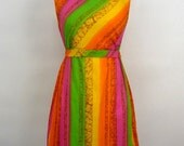 60's Rainbow Cocktail Party Mini Dress Couture Bright Fun