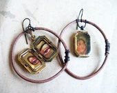 Revelation. Resin in Gold Recycled Bezels with Leather Hoops. Gypsy Bollywood Earrings.