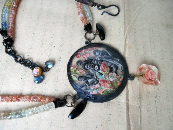 In Flames. Tribal Gypsy Assemblage Necklace with Gemstones.