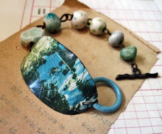 The Blue Dream of Sky. Ceramic Artisan Beads and Recycled Tin Bracelet.