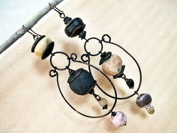 Muliebrity. Tribal Dangles with Ceramic Art Beads. Rustic gypsy asymmetrical assemblage.