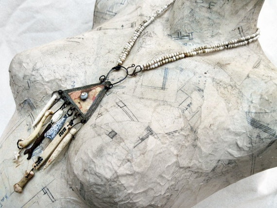 Free Shipping. Bedlam. Pale Victorian Tribal Kuchi Assemblage Necklace with Bones.