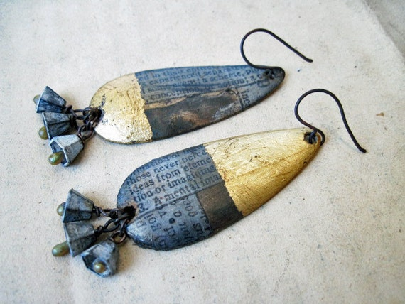 The Orphaned Mind. Asymmetrical Found Object Dangles with Decoupage and Gold Foil.