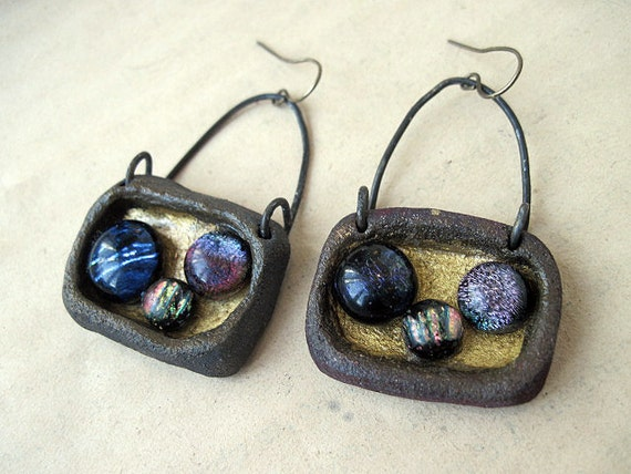 Philosophy in a Labyrinth. Cosmic Assemblage Earrings with Dicrotic  Cabs adn Ceramic Bezels.Beads And Rosy Copper.