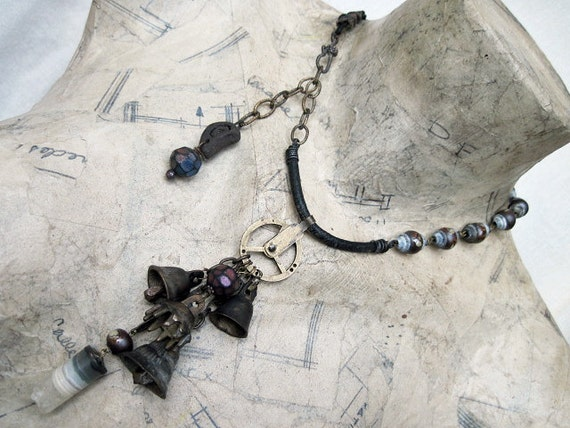 Find Your Way to Music. Choker with Tribal Bells and Druzy Agate Cylinder Gemstone.