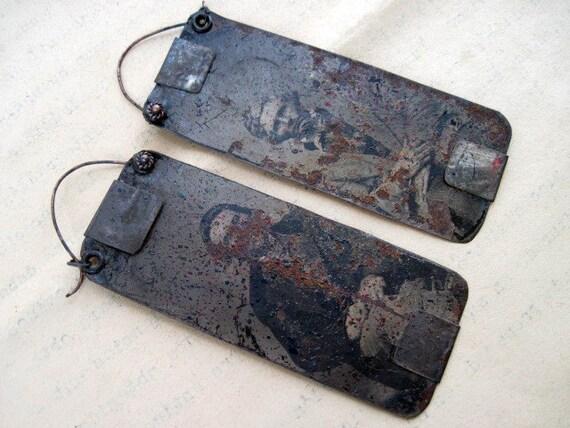 The Medium. Victorian Rustic Gypsy Tintype Earrings.