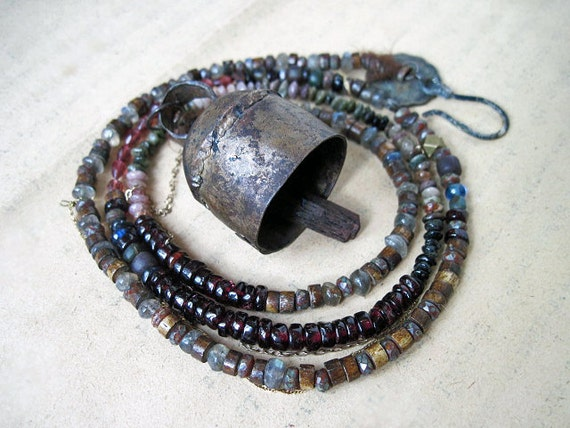 The Vagabond. Victorian Tribal Cowbell with gemstone rondelles.