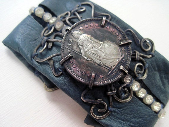 The Lady Victory. Rustic Gypsy Victorian Tribal Leather Cuff with Coin.