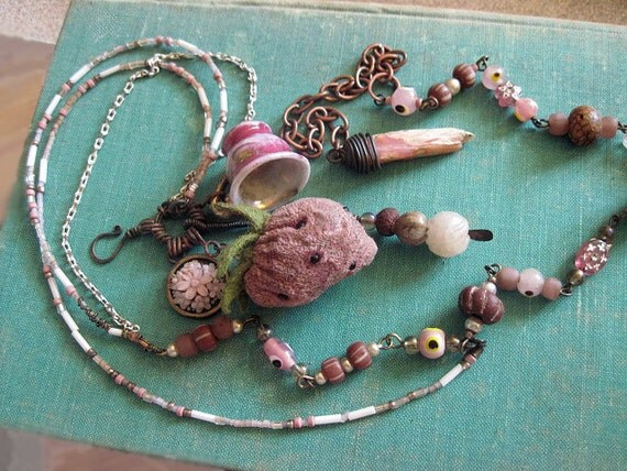 Princess Things. Dusty Pink Rustic Gypsy Victorian Tribal Assemblage Necklace.
