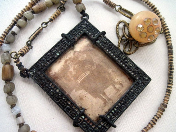 The Sweet Sisters. Victorian Photo Pendant with Tribal Glass.