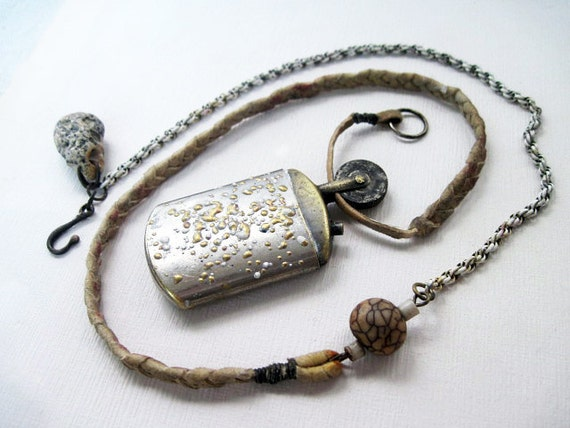 The Spark. Embossed Lighter Victorian Tribal Assemblage Necklace.