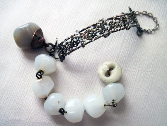 Ghostly. Rustic Gypsy Victorian Tribal Bracelet.