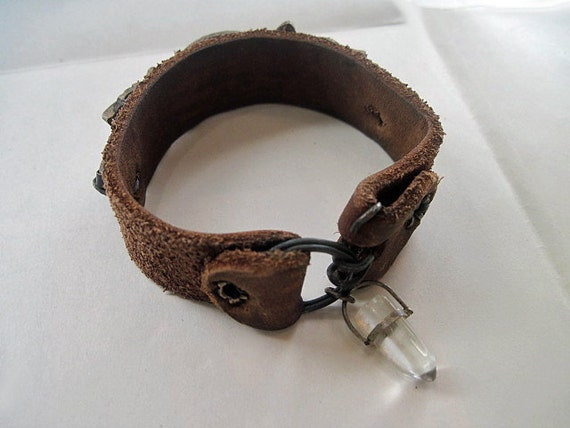 The Aperature. Rustic Gypsy Leather Cuff with Antique bronze escutcheon keyhole and quartz crystal point.