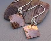 Square Copper Earrings Birch Bark Texture