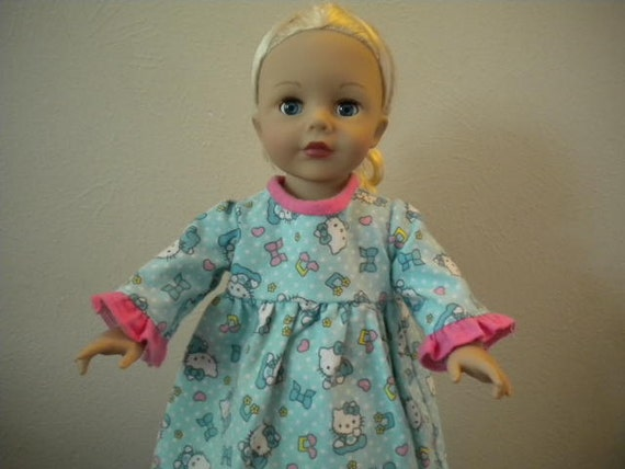 Blue Flannel Hello Kitty Pajamas with Bright Pink Ruffles and Trim for 18 inch Dolls.