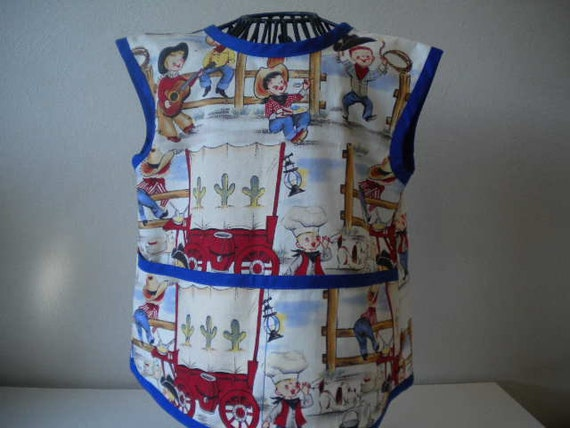 Adorable Buckaroo Apron or Smock With Blue Trim. Size2t-4t