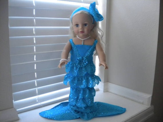 4-pc Aqua  Blue Mermaid Outfit for 18 inch doll.