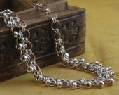 Sterling Silver and Bronze Double Row Chainmail Collar Necklace