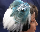 Feather Fascinator - Sparkles on Blue and Black