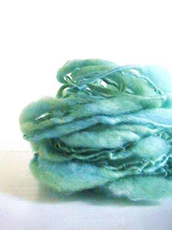 Storybook Fairy Tale Ocean  Extreme Thick and Thin Hand Spun Yarn 18 yds