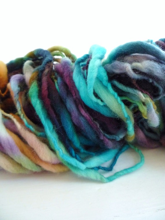 Storybook Fibers FairyTale Elvin Extreme Thick and Thin Hand Spun Yarn Neptune's Sea 72 yds 3.8 ozs
