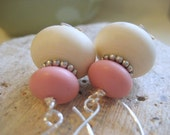 ON SALE Strawberry Macaroon. Vintage Lucite and Silver Earrings.
