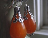 Amber Drop Earrings, Chubby Acrylic Bead, Ornate Antique Silver, autumn accessory