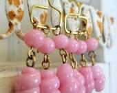 Pink Drop Earrings. Vintage Glass Swirl Dangles. Tinkerbell. Artisan brass ear wires