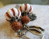 Casbah dangle earrings. Boho Hippy Chic Style, Vintage Lucite  Vanilla Nutmeg stripe beads