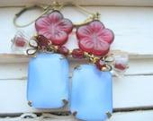 Berry Picking  Dangle Earrings. Vintage Moonstone Cabs Glass Flower