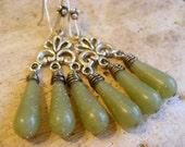 Spanish moss earrings, vintage lucite bead, antique silver, bridal chandelier earrings, bridesmaids accessory