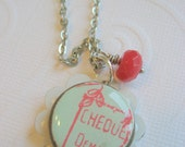 Necklace Resin Bead,  Enamel Strawberry Candy Jade Pendant, silver chain, Check Please