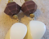 Large Lucite Geometric Bead Dangle Earrings Mod 60s Palm Springs Style