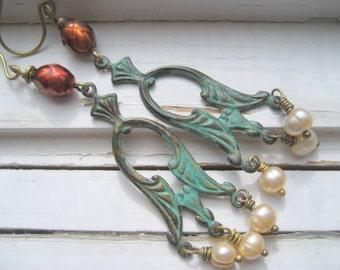 Art Deco earrings, patina drop earrings, freshwater pearl dangle earrings, art deco gift for her