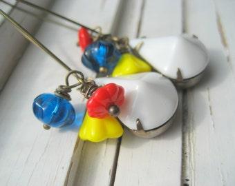 Rock Chalk dangle earrings, white, red, blue, yellow dangle earrings, Kansas Jayhawks, KU