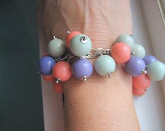 Summer Sorbet charm bracelet, vintage Lucite gumballs, silver chain, chunky charm bracelet,