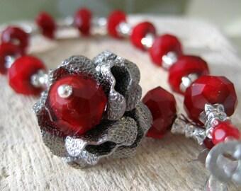 Tin Rose Bracelet  Garnet Crystal Antique Silver  Gift for Her Under 50