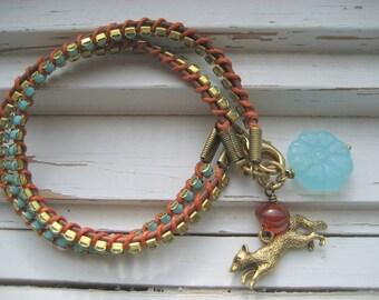 Foxy Lady wrapped leather cord bracelet, vintage turquoise rhinestone chain, boho chic bracelet