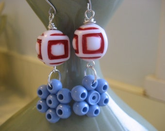 Nautical beaded earrings, vintage lucite, sterling silver