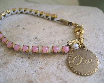Oui Charm Bracelet, leather cord wrap bracelet, vintage pink moonstone chain, boho chic bracelet