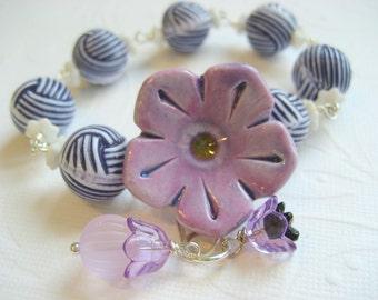 Ceramic Flower  Bracelet , nautical style, stripe lucite bead