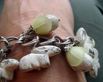 Buds and Bunnies Shabby Chic Charm Bracelet.