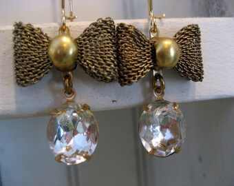 Jane. Crystal Stone and Vintage Brass Bow Dangle Earrings
