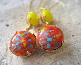 Cabochon Drop Earrings,  Confetti Vintage Cabs, Carnival