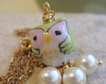 Charm Necklace Porcelain Owl  Pearl Dangles gold chain Personalized Gift for Her Under 20 Owl Melt With You