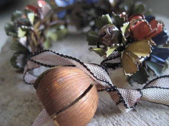 assemblage cuff,  collage bracelet, vintage enamel flowers, hand dyed ribbon, acorn toggle, Monet's Garden Unique Gift For Her Under 50